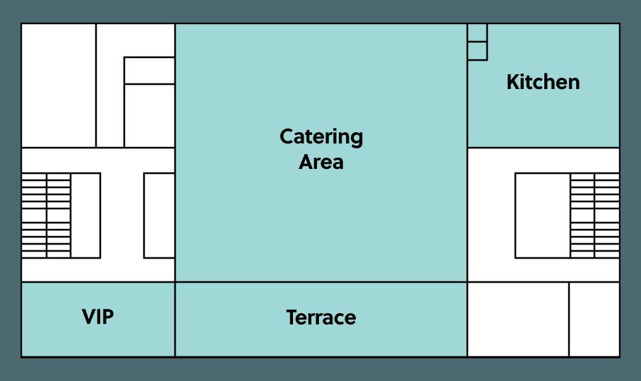 BMCC Brugge niveau 4: grondplan catering & terras