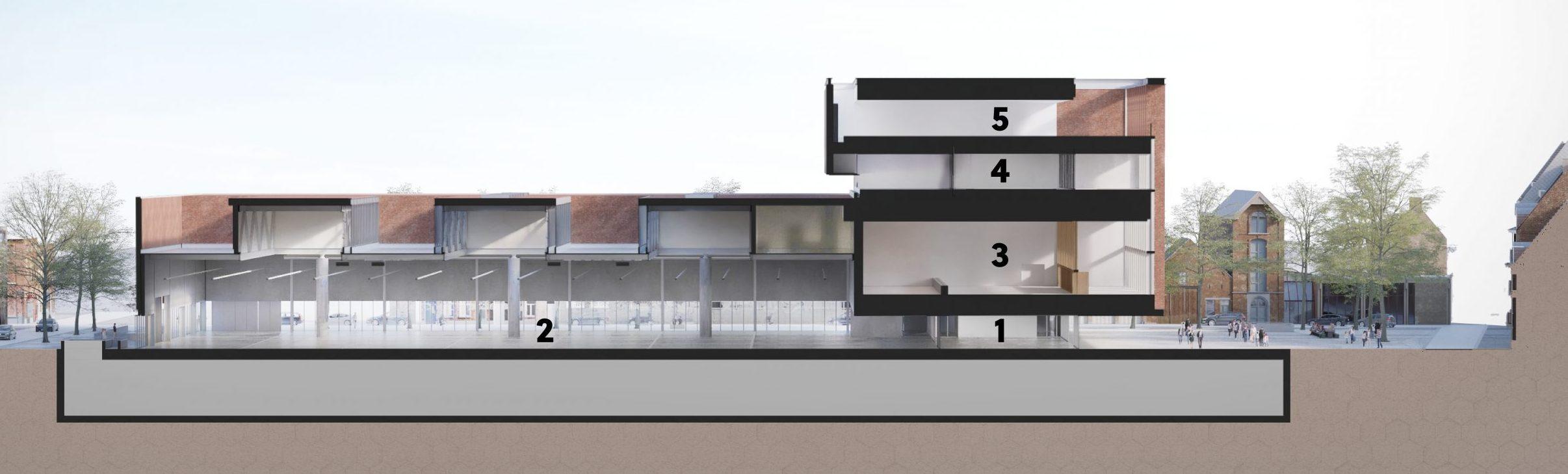 BMCC Brugge doorsnede zalen capaciteit